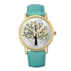 European And American Fashion Men's Tree Of Life Pattern Quartz Watch With Round Dial And Green Leather Strap (Intl)