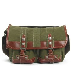 European And American Style Vintage Casual Men Messenger Bag Canvas Shoulder Bag Army Green (Intl)