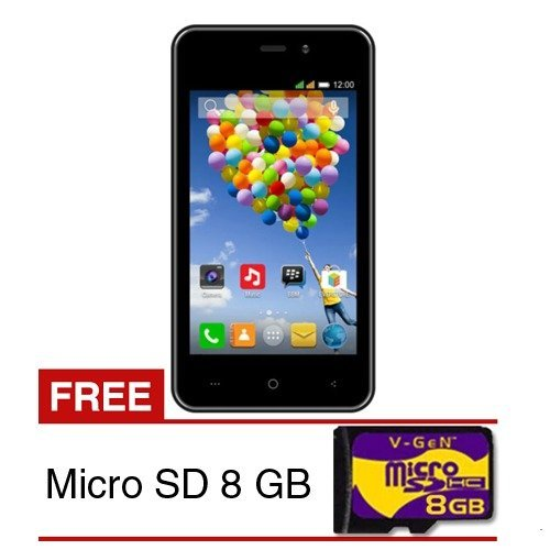 Evercoss A74C - 4GB - Hitam + Micro SD 8 GB