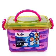 Ezywipe Compressed Disposable Tablet Large Towels 180 Pieces In Plastic Travel Storage Bin