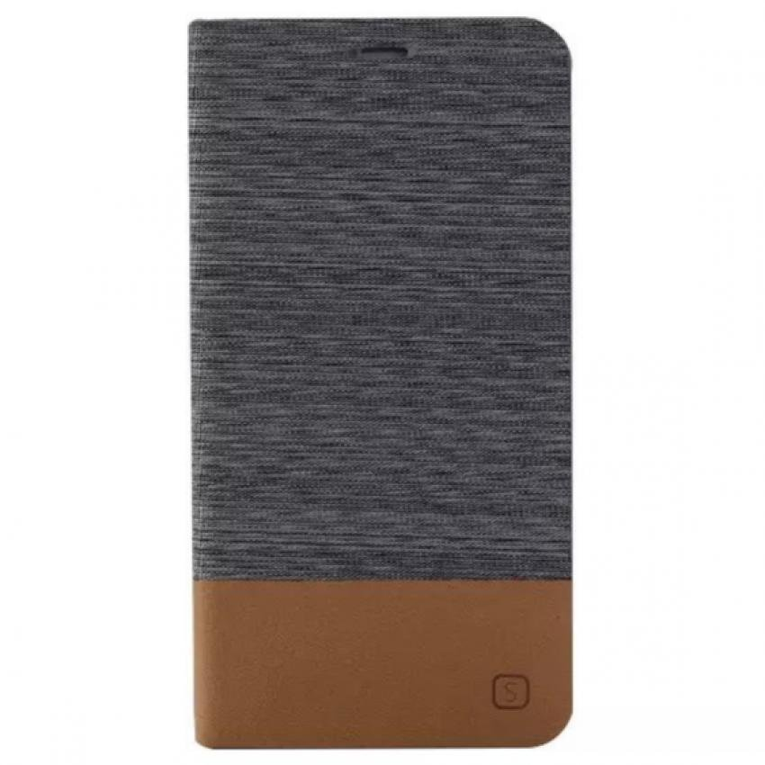 Fabic Grain Flip Case Built-in Soft Silicon Back Cover For Samsung Galaxy E7 (Gray) (Intl)