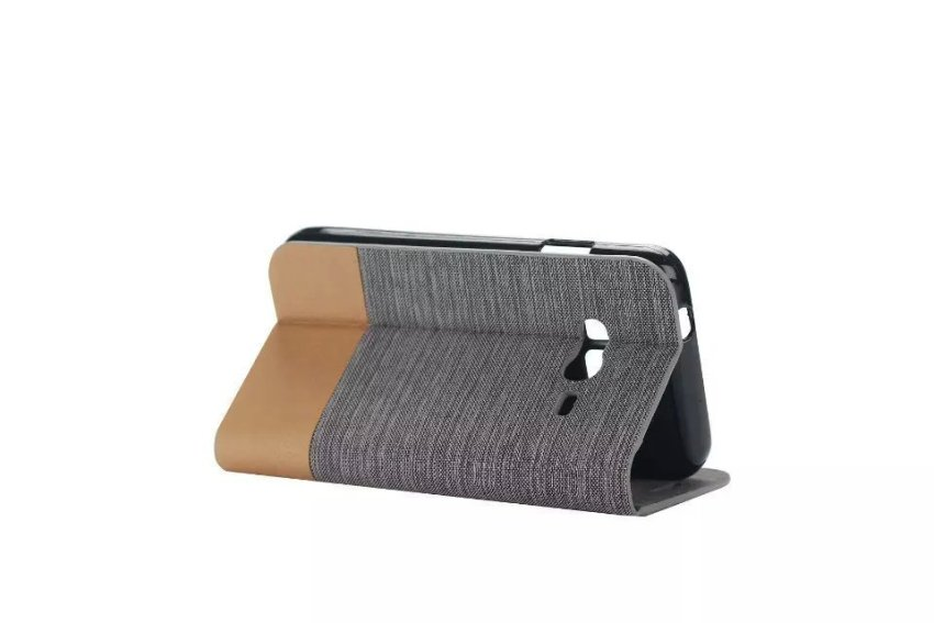 Fabic Grain Flip Case Built-in Soft Silicon Back Cover For Samsung Galaxy Z1 Z130 (Gray) (Intl)