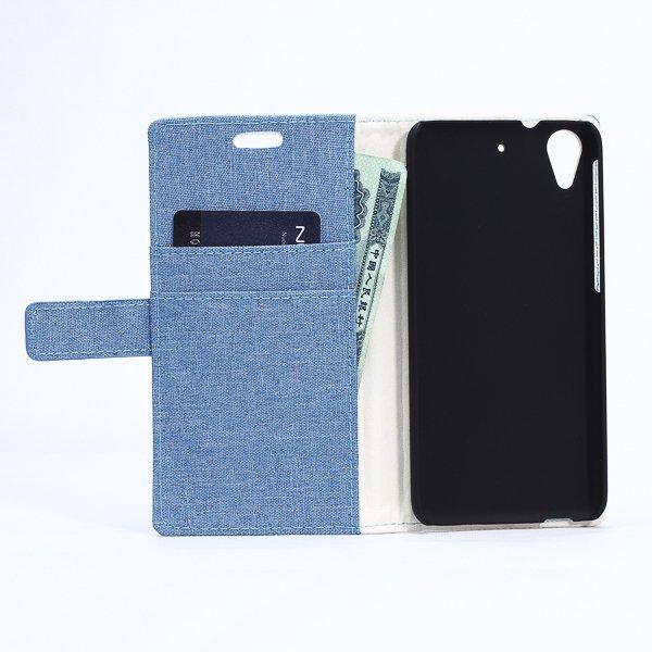 Fabic Grain Flip Cover Case Built-in Card Slot For HTC Desire 626 (Blue) (Intl)
