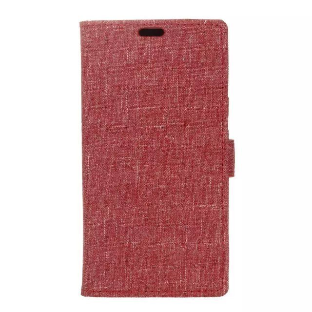 Fabic Grain Flip Cover Case Built-in Card Slot For Samsung Galaxy A710F (Red) (Intl)