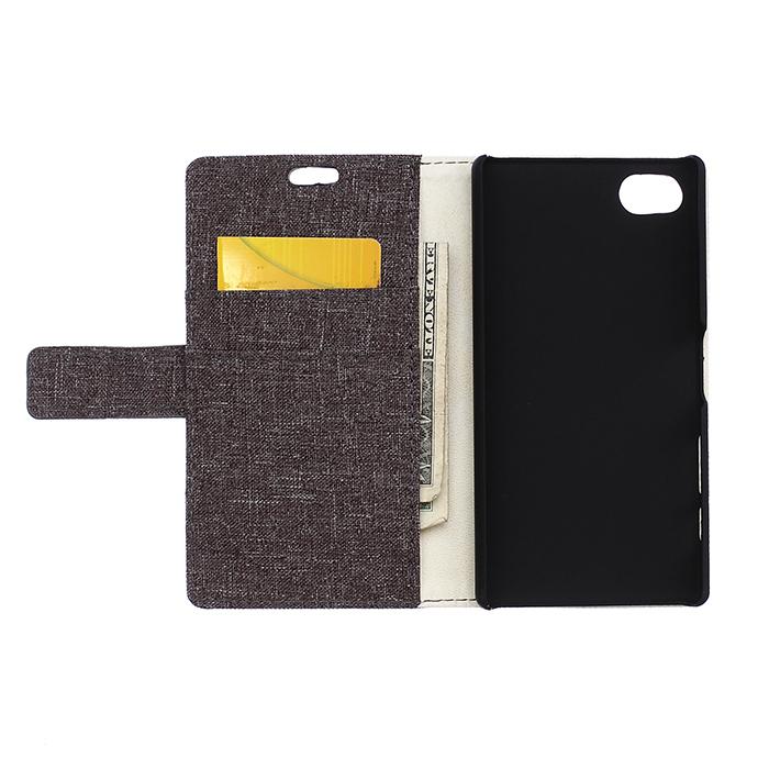 Fabic Grain Flip Cover Case Built-in Card Slot For ZTE Nubia Z5 mini (Gray) (Intl)