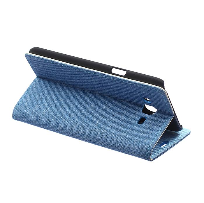 Fabic Grain Flip Cover for Samsung Galaxy A8 (Blue) (Intl)