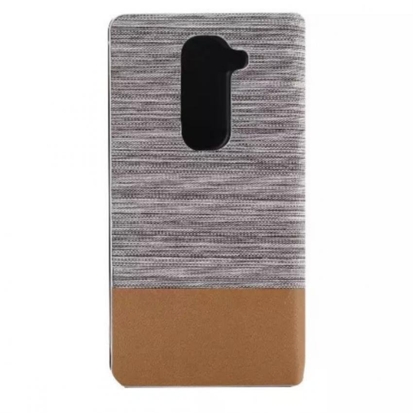 Fabric Grain and Soft Silicone Flip Cover for LG G2 mini (White) (Intl)