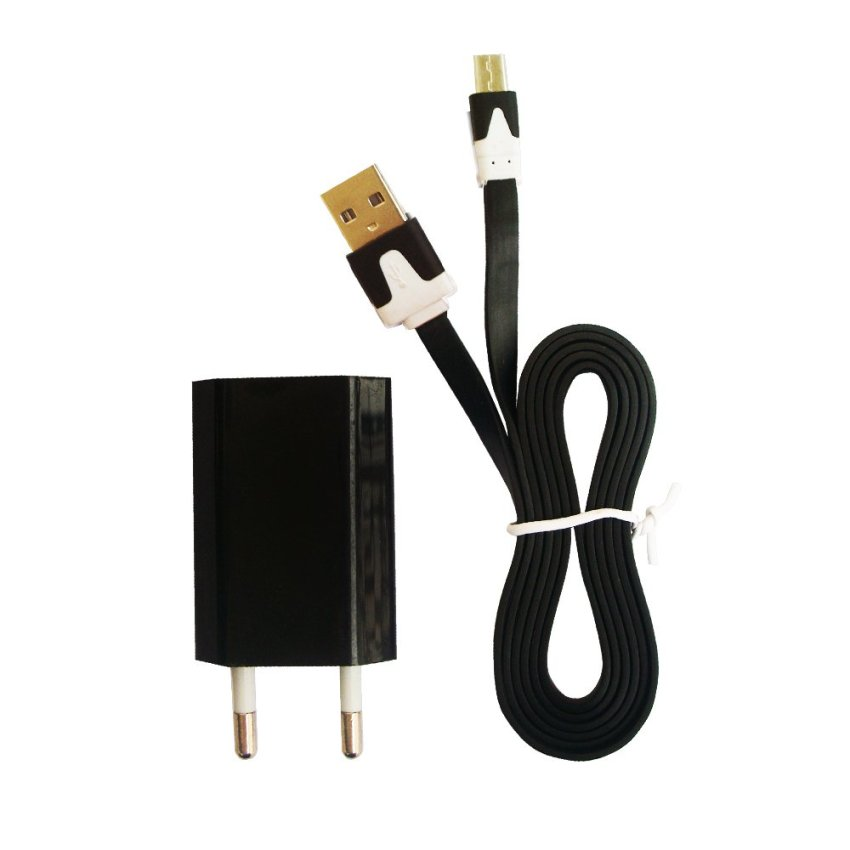 FAK Charger Usb 5V-1A Plus Kabel Data Mikro Usb Flat - Hitam