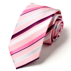 Famous Brand Ties For Men Fashion Designers Men's Ties Fashion 7cm Evening Dress Pinkish Purple Stripe Neckties Men Tie (Pink)