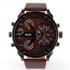 Famous Designer Mens Watches Top Brand Luxury Quartz-Watch Oulm Leather Strap Big Face Military Quartz Clock Relogio Masculino (Brown)