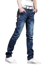 Fanco Men's Classic Stylish Designed Straight Slim Fit Trousers Casual Jean Pants Blue - Intl
