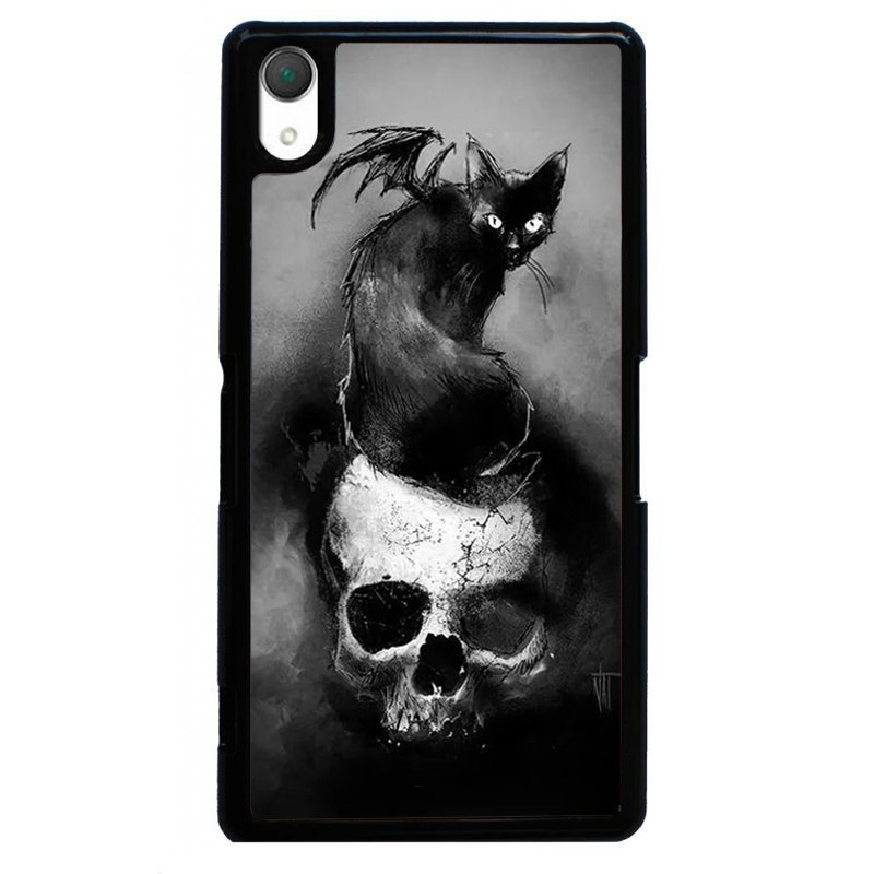 Fashion Black Cat On Skull Head Painting Phone Case for SONY Xperia Z3 (Black)