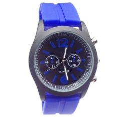 Fashion Boys Girls Ladies Silicone Jelly Gel Quartz Analog Sports Wrist Watches Dark Blue