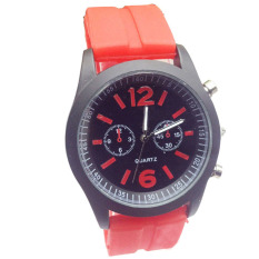 Fashion Boys Girls Ladies Silicone Jelly Gel Quartz Analog Sports Wrist Watches Red