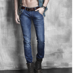 Fashion Casual Mens Stylish Designed Straight Slim Fit Jeans (Blue) (Intl) - Intl