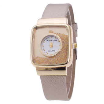 Fashion Casual Square Gold Shell PU Leather Watch (Beige)