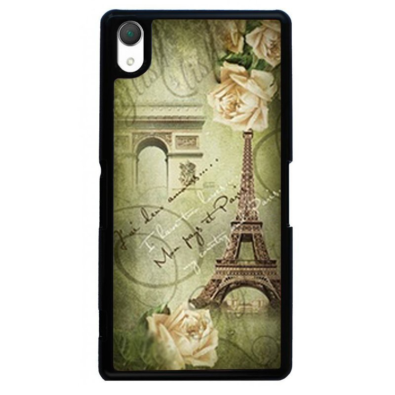 Fashion Eiffel Tower Printed Phone Case for SONY Xperia Z4 (Black)