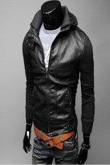 Fashion Gray Long Sleeve Men Zipper With Hat Korean Short Length Style Cool Coat For Men Black- Intl