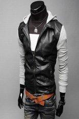 Fashion Gray Long Sleeve Men Zipper With Hat Korean Short Length Style Cool Coat For Men Gray