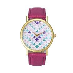 Fashion Lady Women Quartz Aztec Tribal Pattern Leather Wrist Watch (Pink) (Intl)