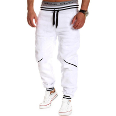 Fashion Men Drawstring Casual Single-breasted Pants Full Length Trousers Mid Waist Straight Patchwork Pants Man Hot Sale Tops(White)
