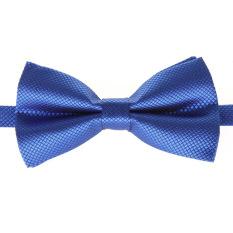 Fashion Men's Tuxedo Bowtie Solid Color Neckwear Adjustable Wedding Party Bow Tie Necktie Pre-Tied Royal Blue - Intl