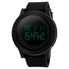 Fashion Silicone Waterproof LED Digital Watch For Men Clock Digital-watch (Black)