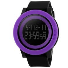 Fashion Silicone Waterproof LED Digital Watch For Men Clock Digital-watch (Purple)