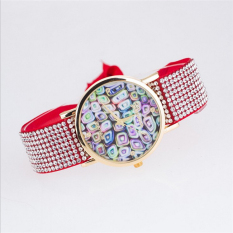 Fashion Style Fabric Geneva Watches Women Quartz Watches Multicolor Ladies Watch Rope Bracelet Watch (Red)