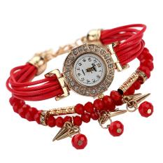Fashion Women Braid Winding Wrap Bracelet Stainless Steel Watch Red - Intl