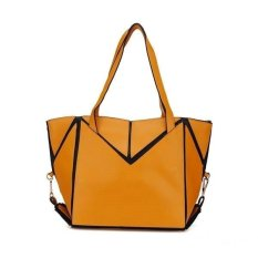 Fashion Women Candy Color Patchwork Handbag (Apricot) - Intl