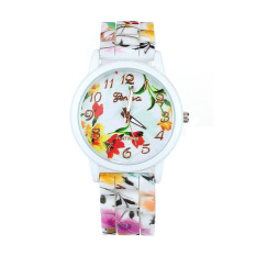Fashion Women Flower Printed Casual Quartz Silicone Watch Watches Red