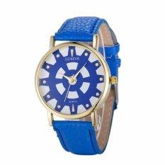 Fashion Women's Date Geneva Stainless Steel Leather Analog Quartz Wrist Watch Blue Free Shipping