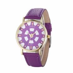 Fashion Women's Date Geneva Stainless Steel Leather Analog Quartz Wrist Watch Purple Free Shipping