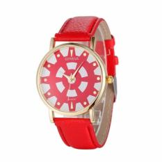 Fashion Women's Date Geneva Stainless Steel Leather Analog Quartz Wrist Watch Red Free Shipping