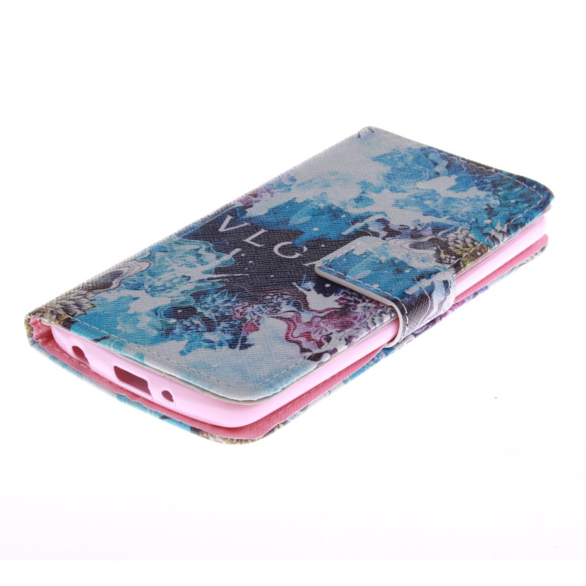Filp Leather Built in Card Slot With Blue Color Doule Painting Cover for LG G3 mini (Multicolor) (Intl)