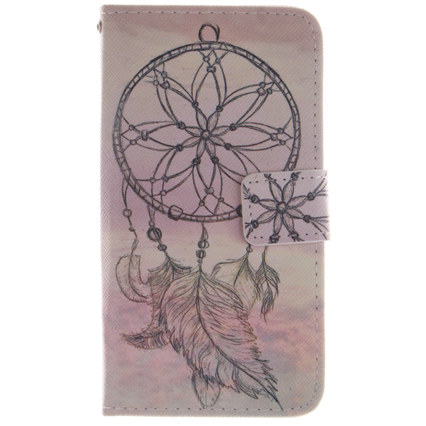 Filp Leather Built in Card Slot With Dreamcatcher Double Painting Cover for LG G3 mini (White) (Intl)
