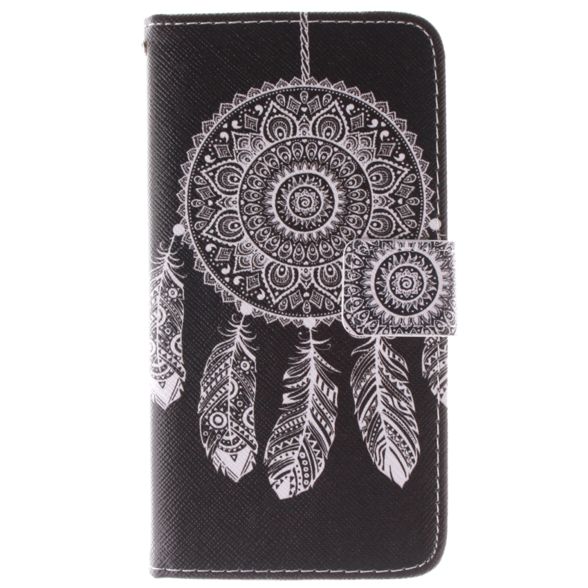 Filp Leather Built in Card Slot With Dreamcatcher Double Painting Cover for Samsung Galaxy Alpha G850 (Black) (Intl)