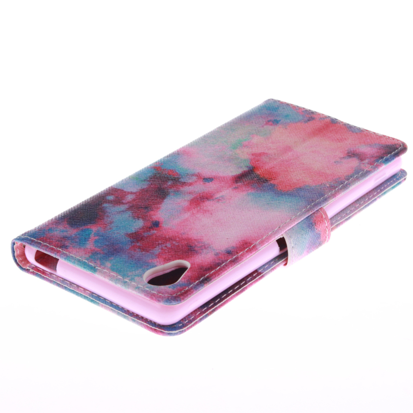 Filp Leather Built in Card Slot With Red Sky Double Painting Cover for Sony Xperia M4 (Multicolor) (Intl)