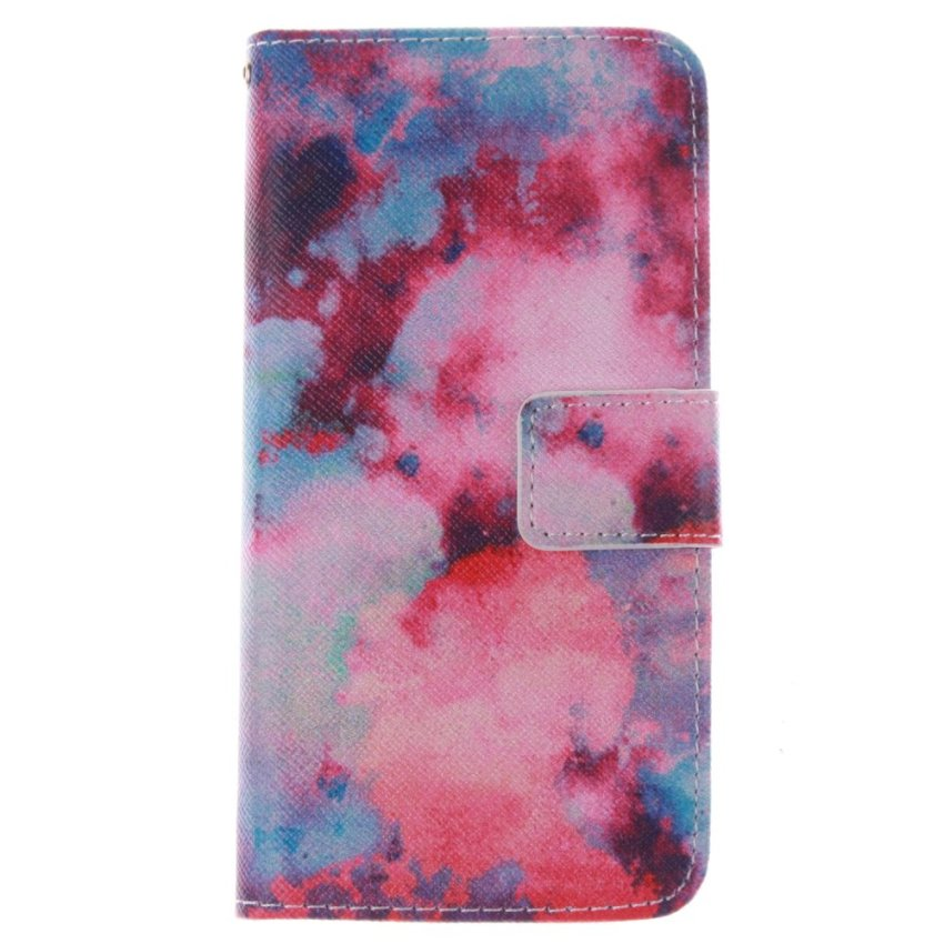 Filp Leather Built in Card Slot With Sky Double Painting Cover for HTC One M8 Mini (Red) (Intl)