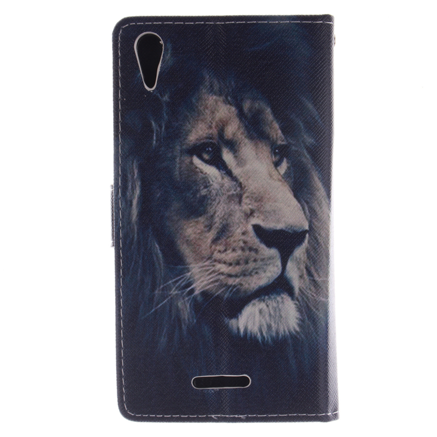 Filp Leather Case Built in Card Slot for Sony Xperia T3(LionDouble Painting Black) (Intl)