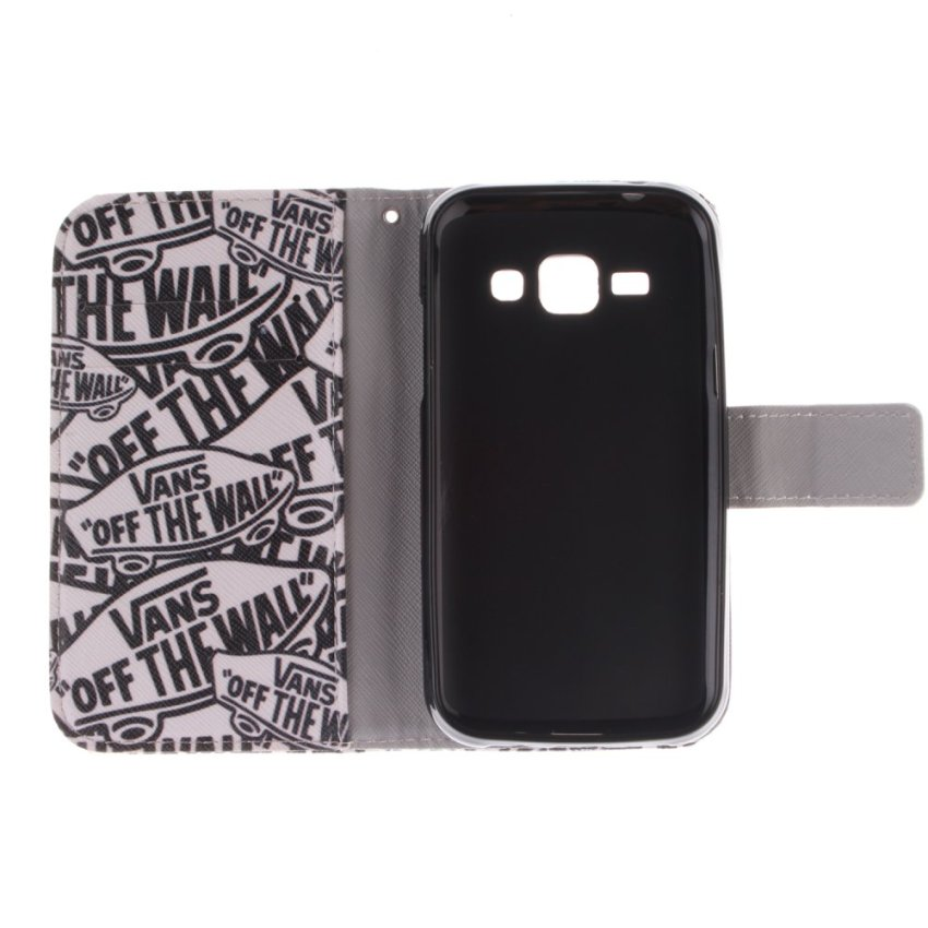 Filp Leather Case Built in Card Slot With Character Double Painting For Samsung Galaxy J1-White (Intl)
