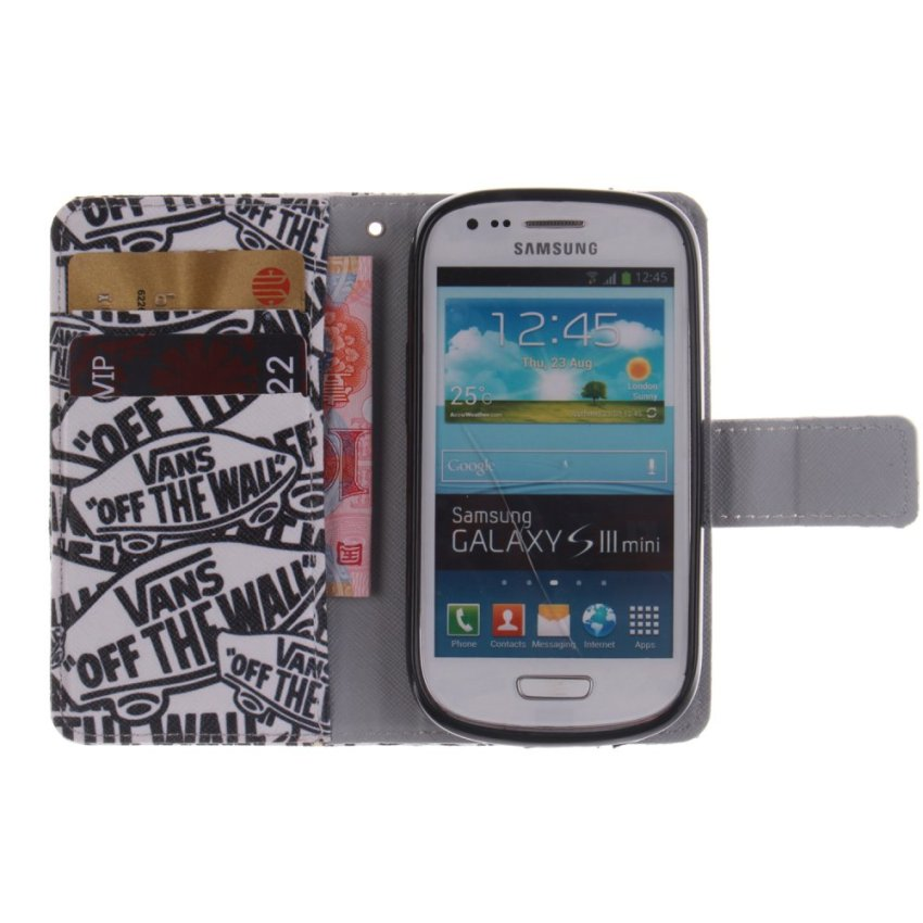 Filp Leather Case Built in Card Slot with Character Double Painting for Samsung Galaxy S3 mini i8190 (Black) (Intl)