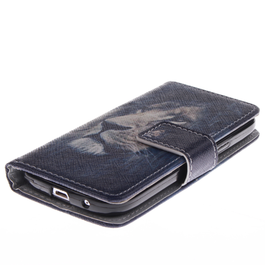 Filp Leather Case Built in Card Slot With Lion Double Painting For Samsung Galaxy S4 mini i9190-Black (Intl)