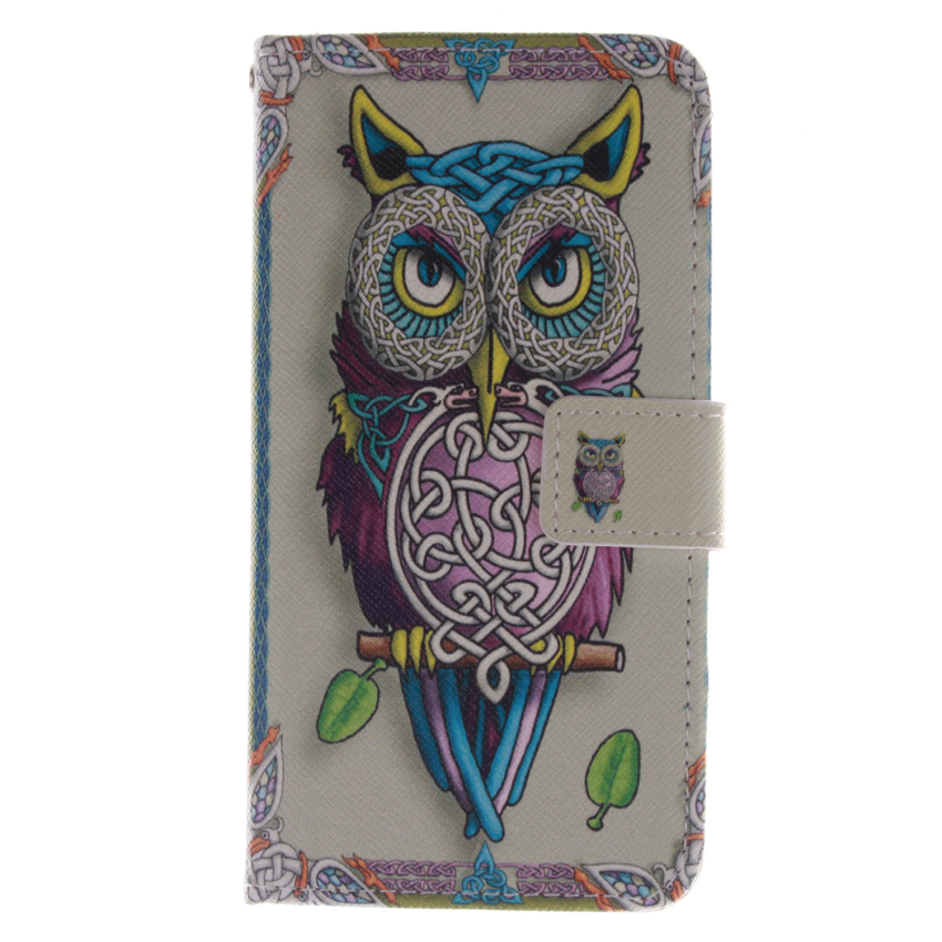Filp Leather Case Built in Card Slot With OWL Double Painting for LG G2 (Multicolor) (Intl)