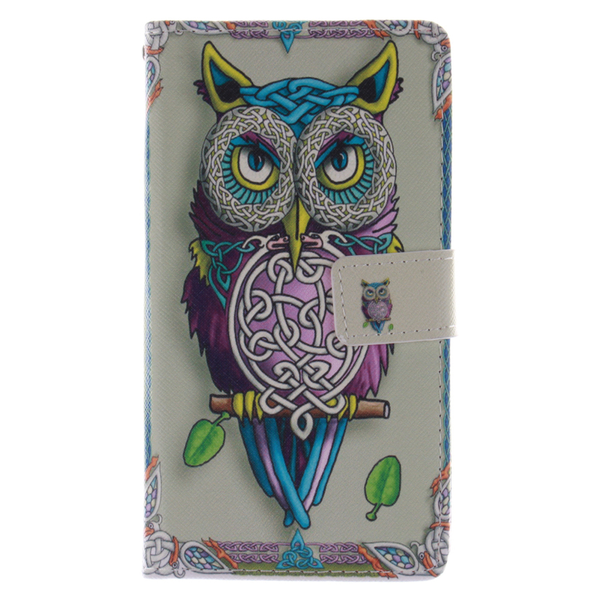Filp Leather Case Built in Card Slot With OWL Double Painting For Samsung Galaxy Note 4-White (Intl)