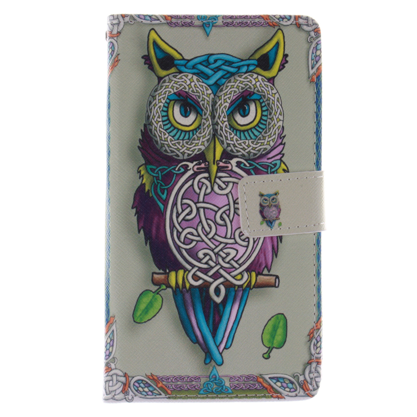 Filp Leather Case Built in Card Slot with Owl Double Painting for Samsung Galaxy S3 (Multicolor) (Intl)