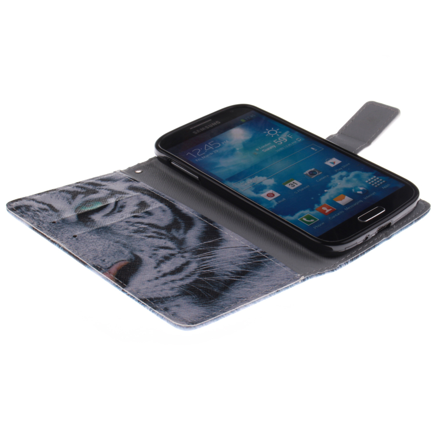 Filp Leather Case Built in Card Slot With Tiger Double Painting For Samsung Galaxy S4-(White) (Intl)