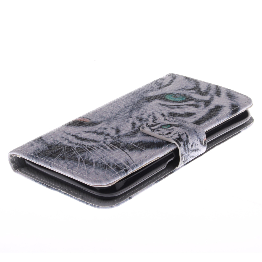 Filp Leather Case Built in Card Slot with Tiger Double Painting for Sony Xperia E4 (White) (Intl)