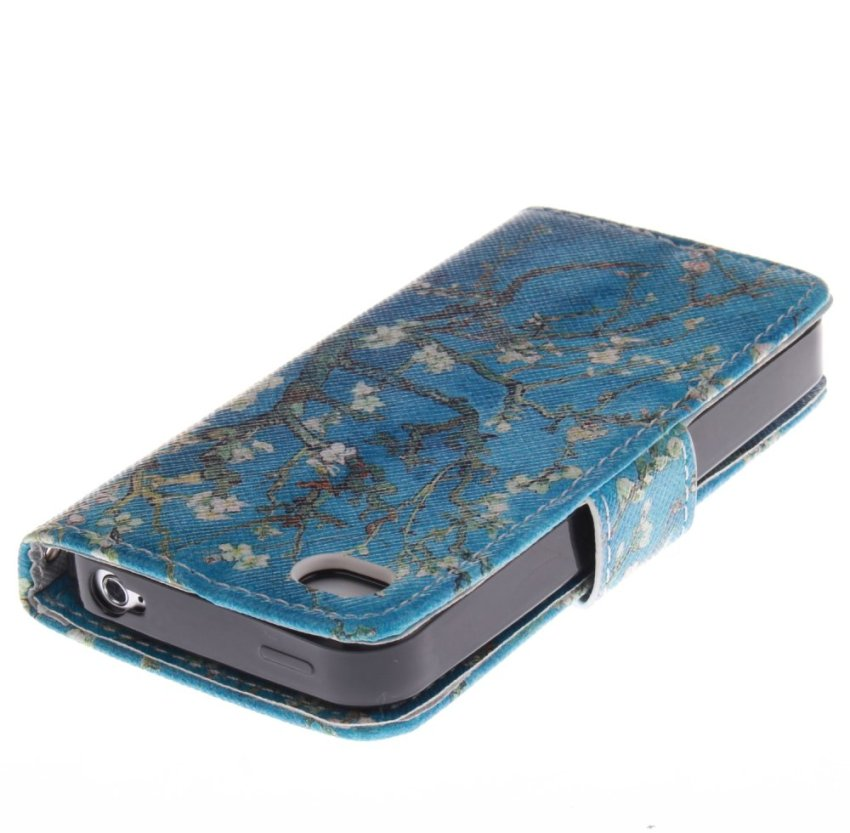 Filp Leather Cover Case Built in Card Slot with Trees Double Painting for iPhone 4S (Blue) (Intl)